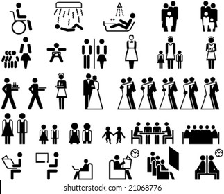 Collection of universal symbols for icons, signs, labels, posters etc., shows figures