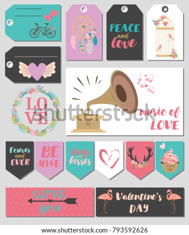 collection valentines day gift tags stickers stock vector royalty
