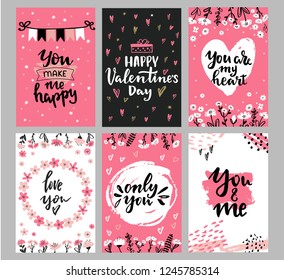 Collection of Valentine's day greeting cards with hand written love words and phrases. Love you, You and me, only you, Happy Valentines day lettering and decorative flowers and brush strokes