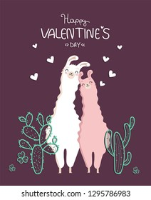 Collection of Valentine's day and llama in love with cactus and heart and many details.Typography poster,card,label,banner design set with background.Vector illustration.