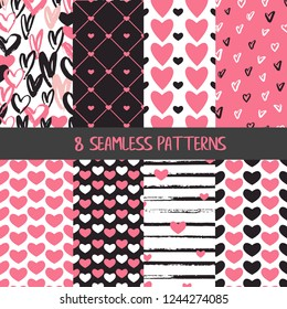 Collection of Valentine's day seamless patterns with hearts with white, black and pink colours and hand drawn details and textures