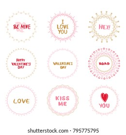 Collection of Valentine's Day and Wedding round decorative borders with hand drawn text elements. Good for invitation and greeting card. Vector illustration.