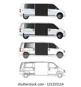 Collection of vans with open door. Vector design.