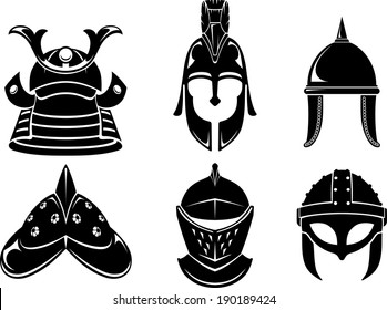 Collection of varied medieval soldier, warrior helmets or protective head gear.