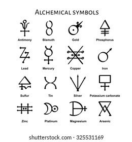 Collection of various alchemical symbols, vector illustration.