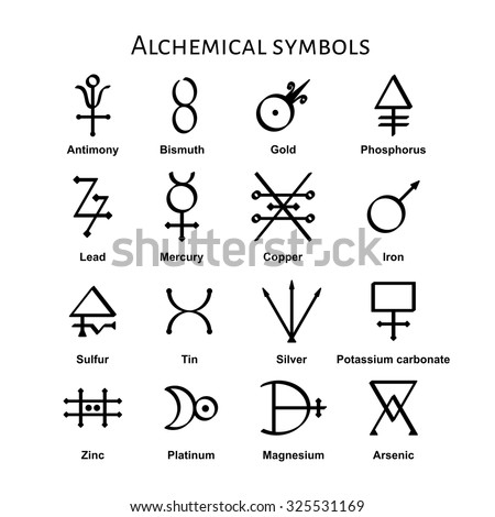 Collection Various Alchemical Symbols Vector Illustration Stock