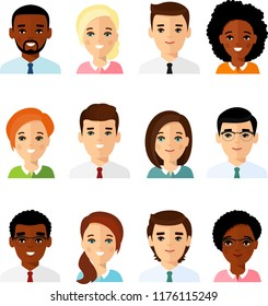 Collection of various avatars of international man, woman. Set of different avatar african american, european peoples in colorful flat style.