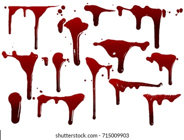 collection various blood or paint splatters,Halloween concept,ink splatter background, isolated on white.