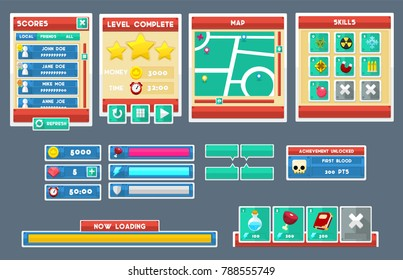 Collection of various buttons, icons, windows, and user interface elements with flat theme for creating video games