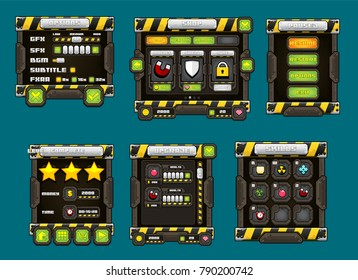 Collection of various buttons, icons, windows, and other user interface elements with dark metal theme. Used for creating action video games