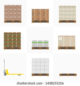 Collection of various cargo boxes. Cardboard boxes, crates, pallet, beer barrels. Pallet truck. Isolated illustration.