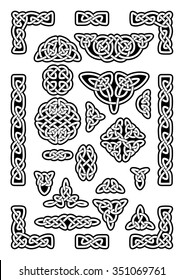Collection of various celtic knots, goidelic frames, vector illustration. Simple knotwork designs on white background