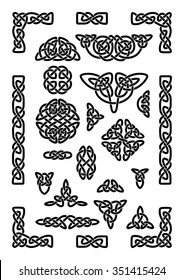 Collection of various celtic knots, goidelic frames, vector illustration. Simple knotwork designs on white background.