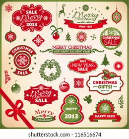 Collection of various christmas and new year decoration