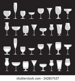 Collection of various drink glasses, icons set, isolated on black background, vector illustration.