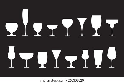 Collection of various drink glasses, icons set, white isolated on black background, vector illustration.