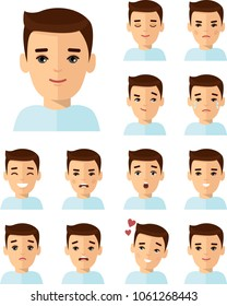 Collection of various emotion expression avatar man happy, angry, sad, funny. Set of different avatar people in colorful flat style.