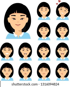 Collection of various expressions chinese avatar female smile happy angry sad, funny. Set of isolated different facial emotions young asian woman in colorful flat style.