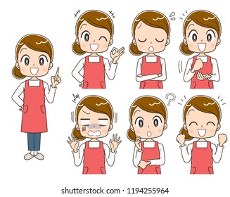 A collection of various expressions of housewives