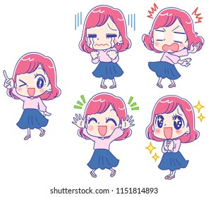 Collection of various facial expressions of young and cute women