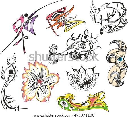ad36a08b423ef Collection of various fantasy tattoo sketches including abstract designs,  animals, flowers, pinstripes and
