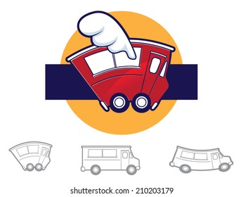 Collection of various food truck icons/Vector Food Truck Icons
