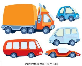 Collection of various funny hand-drawn cars - vector illustration