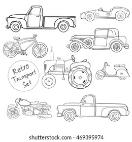 Collection of various funny hand-drawn transports - vector illustration. Old times. Isolated on a white background. Doodle. Sketch.