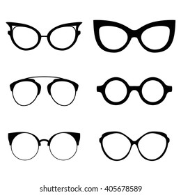 Collection of various glasses. To be worn by women, men and children. Eye glasses set. Vector illustration eps10
