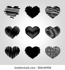 Collection of various hand drawn heart icons with pen sketch texture.