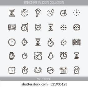 Collection of various hand drawn time icons