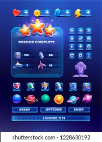 Collection of various icons, buttons, windows, and elements for creating sci-fi video games. Space game design.