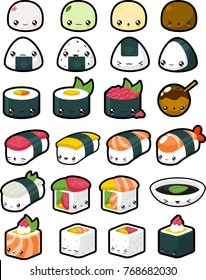 Collection of various Japanese food with cute faces