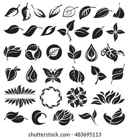 collection of various leaves design elements