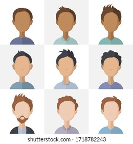 Collection of various man flat illustrations. Bundle of male icon. Vector.