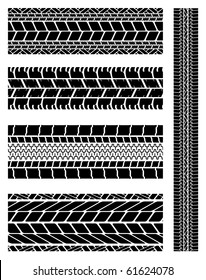 A collection of various motor car tyre tracks.