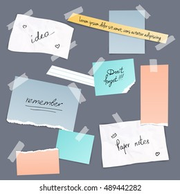 Collection of various note papers, banner set. Different scraps of paper stuck by sticky tape. Vector illustration.