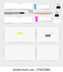 Collection of various note papers, ready for your message. Vector illustration.