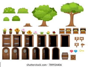 Collection of various objects from trees, flowers, bush, doors, to barrels for creating fantasy video games