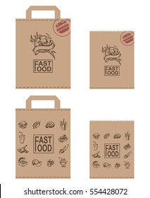 Collection of various paper packages for fast food. Vector illustration