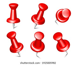 Collection of various red push pins. Thumbtacks set isolated on white background. 3d push pins, sewing needles or board tacks for paper notice. Vector illustration in top view, front view, close up.