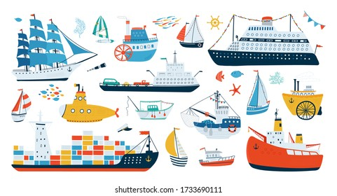 Collection various ships isolated on white background in a flat style. Water transport illustrations for design of children's rooms, clothing, textiles.Vector