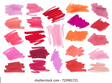 Collection of various Smears lipstick on white background. Vector marker label or headline template