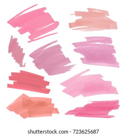 Collection of various Smears nude lipstick on white background. Vector marker label or headline template red colors