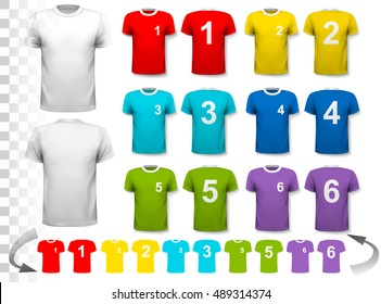 Collection of various soccer jerseys with numbers. The T-shirt is transparent and can be used as a template with your own design. Vector.