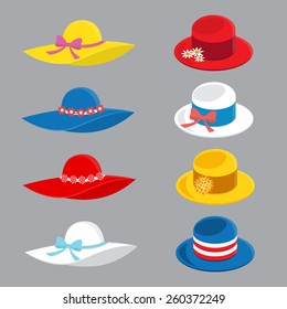 Collection of various summer hats in flat style in vector