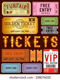 A collection of various ticket designs. Vector illustration.