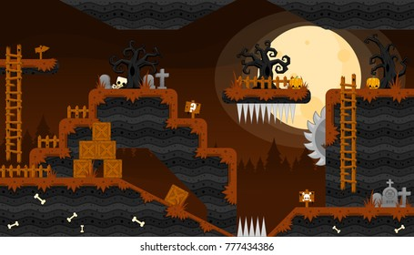 Collection of various tiles and objects for creating Halloween and zombie themed video games