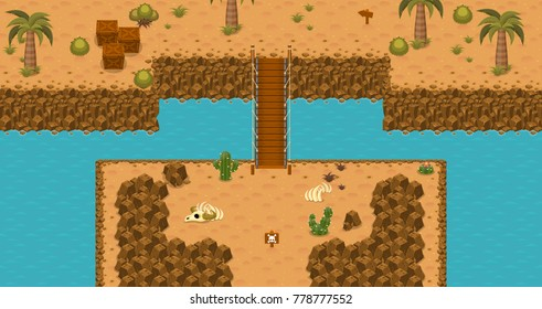 Collection of various tiles and objects for creating top down adventure video games with desert theme