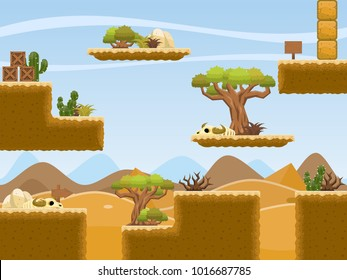Collection of various tiles and objects with desert and pyramid theme for creating adventure game video games